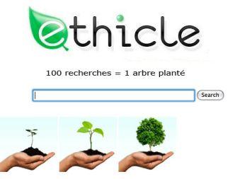 Ethicle - Le moteur de recherche écolo : 100 recherches = 1 arbre planté
