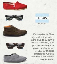 TOMS One for One - Les achats solidaires